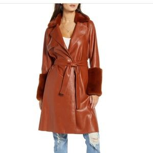 Blank NYC faux fur leather coat with fur sleeves